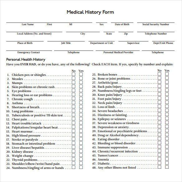 Patient Medical History Form Template Luxury Medical History Form