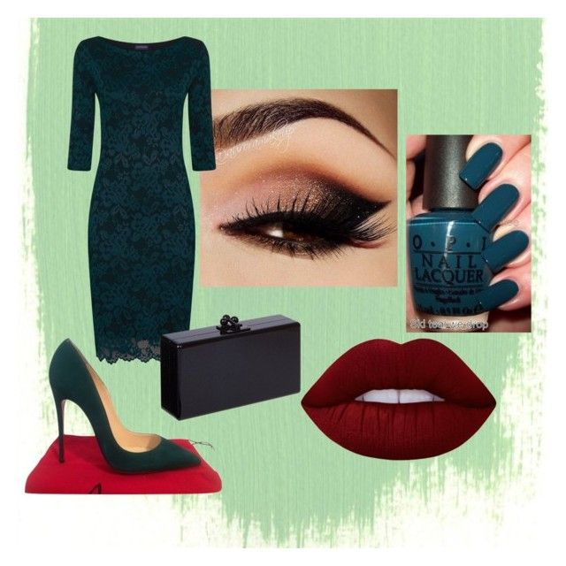 green by vanessaxavierdeandrade on Polyvore featuring HotSquash, Christian Louboutin, Edie Parker, Lime Crime and Etcetera