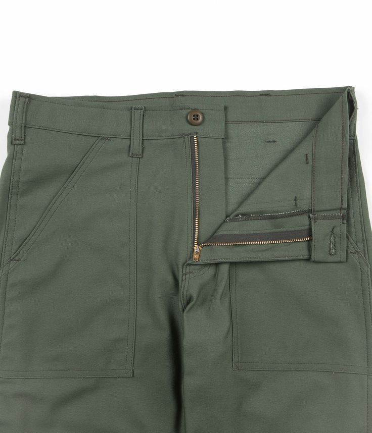 Stan Ray Slim Fit 4 Pocket Fatigue Trousers - Olive Sateen | Flatspot