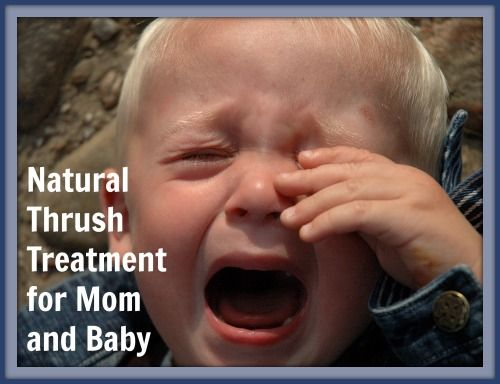 Natural Thrush Treatment for Mom and Baby: ten drops of GSE in an ounce of water.  soak Q-tips in the solution and paint in baby's mouth before feedings, and momma's nipples after.