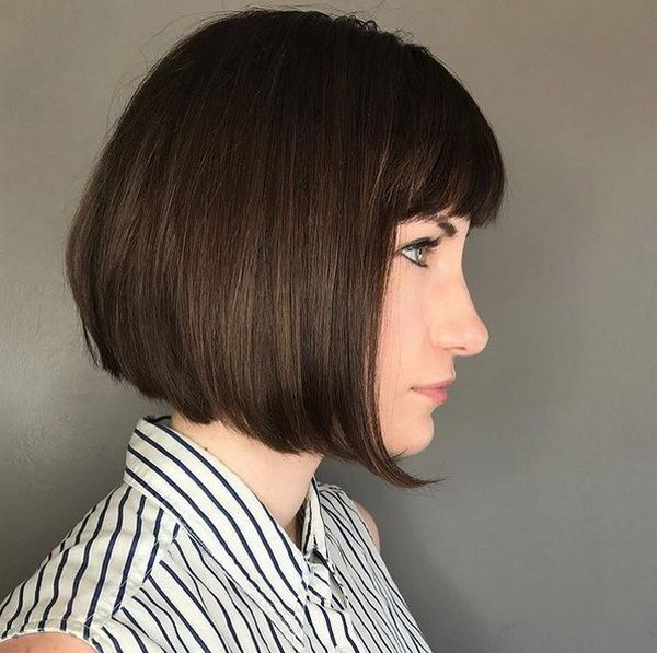 Short Blunt Bob Haircuts 20182019 with Fringe  Hairstyles Ideas in 2019  Bob hairstyles for
