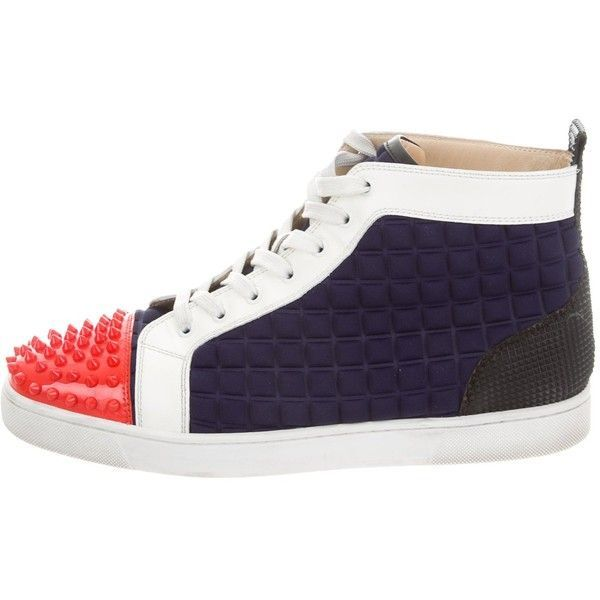 Pre-owned Christian Louboutin Louis Flat Spiked Sneakers ($625) ❤ liked on Polyvore featuring men's fashion, men's shoes, men's sneakers, blue, mens sneakers, mens shoes, mens hi tops, christian louboutin mens shoes and mens spiked shoes #christianlouboutinsneakers