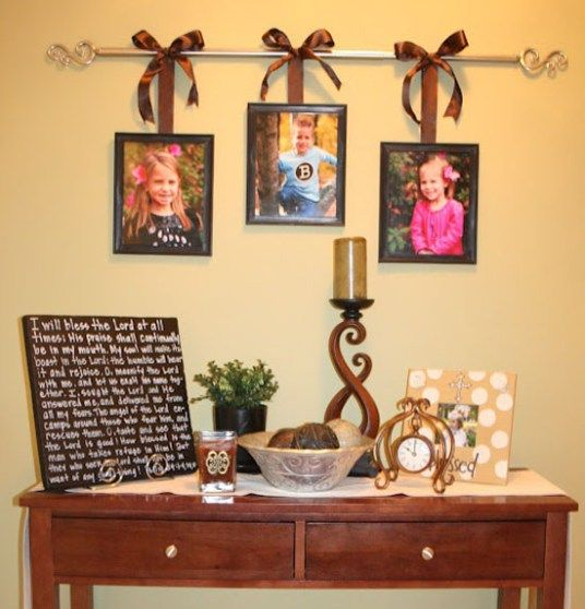 DIY Curtain Rod Photo Picture Frame Hanger