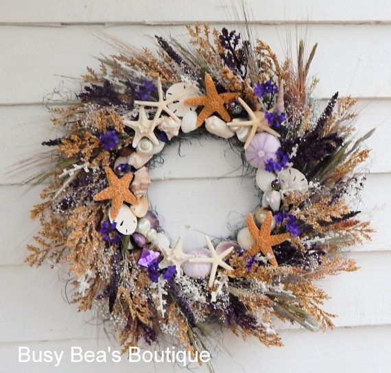 Gorgeous Primitive Seashell & Starfish Wreath -Beach Wreath,Spring Wreath, Centerpiece, Front Door Wreath, Primitive Wreath, Seashore Wreath