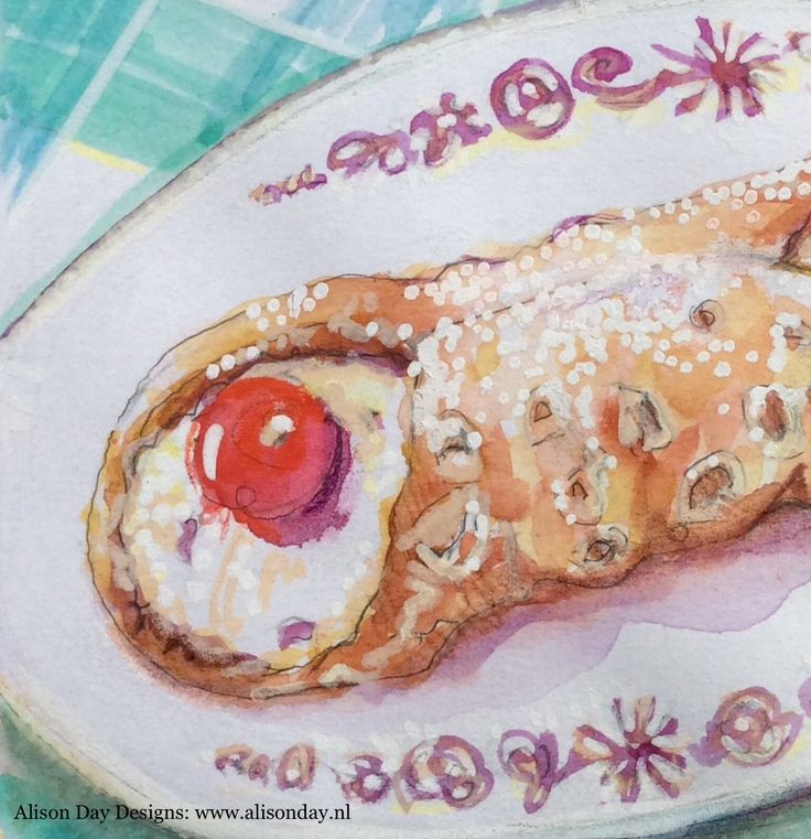 Cannoli by Alison Day Designs #the100dayproject  Instagram: #100daysoffoodanddrink #food #drink #illustration  Newsletter - for more info and creativity: http://alisonday.us8.list-manage.com/subscribe?u=f0ee923eb109c974f6e7d72c2&id=d783011ad5