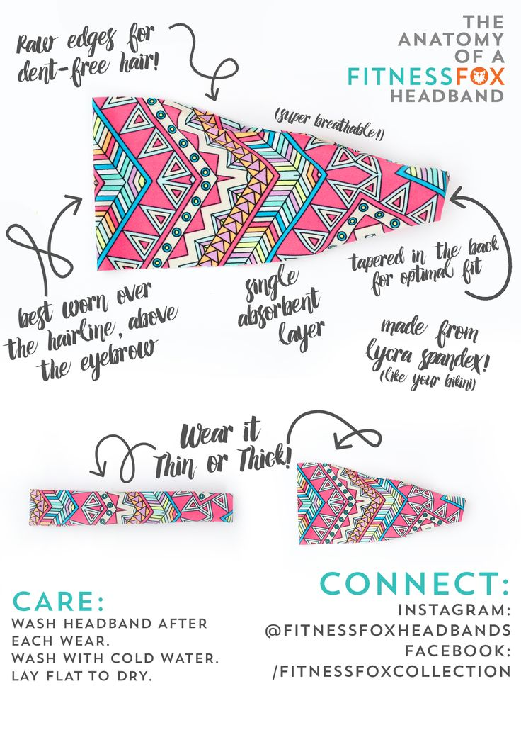 The Anatomy of a Fitness Fox Headband! Fitness Fox is a hand-crafted collection of fashionable and functional headbands for women. We specialize in bright colored spandex/lycra headbands that are super sweat absorbent and won't slip off your head. Perfect for Yoga, CrossFit, Running, and Dance!