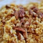 1 cup cooked oats  1/4 cup prepared pumpkin  1/2 tsp. cinnamon  1 tsp. vanilla  2 tsp. flax seed (ground)  agave or honey to taste