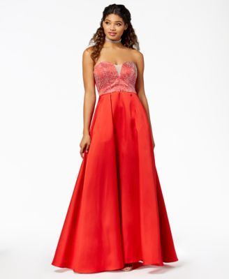 54e9c367e Say Yes to the Prom Juniors' Embellished Strapless Ballgown, Created for  Macy's