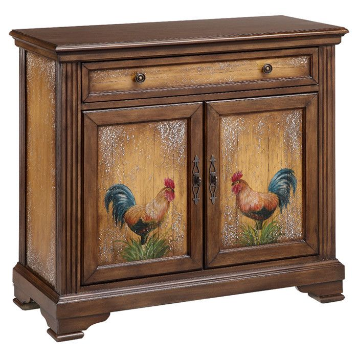 Hand Painted Kitchen Cabinets: Showcasing A Hand-painted Rooster Design And 2 Doors, This