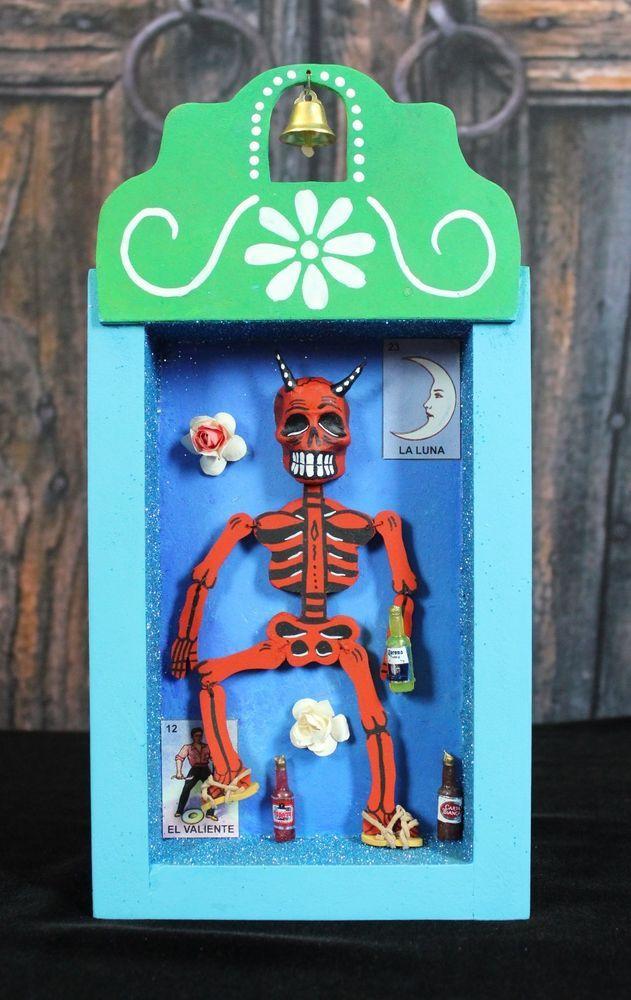 Dias de los Muertos skeleton Diablo Devil Relicario Wooden Nicho Mexico Folk Art