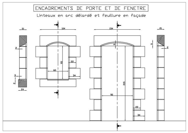 dessin encadrements de porte et de fen tre en arc d lard avec feuillure en fa ade ouvertures. Black Bedroom Furniture Sets. Home Design Ideas