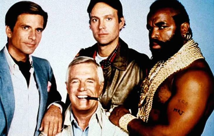 Los cuatro protagonistas de El equipo A