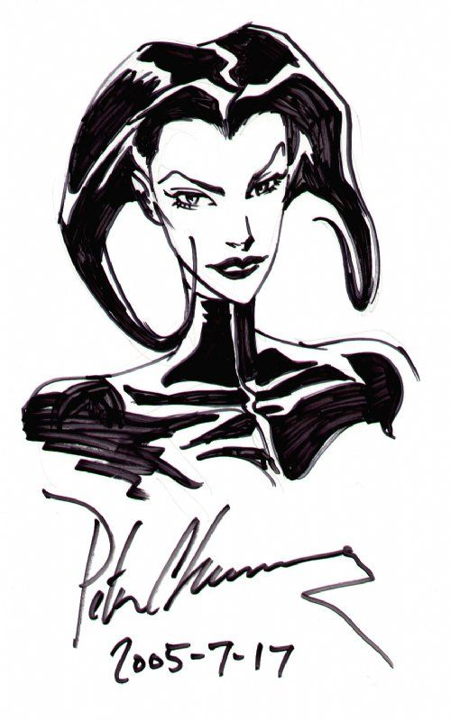 Aeon Flux Head Shot Sketch - Peter Chung Comic Art