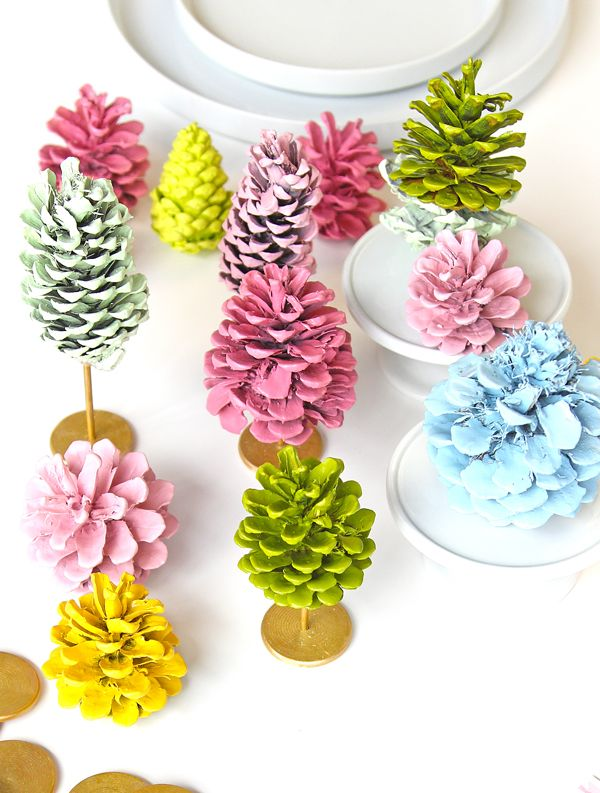 Painted pine cone trees.  I'm thinking we're going to have a forest of these.
