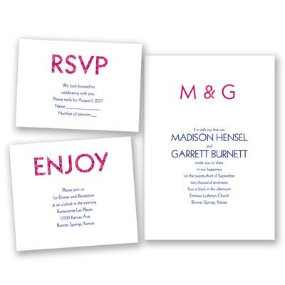 Classic Typography - Bundle Basic Wedding Invitation Set - Inexpensive at Invitations By David's Bridal