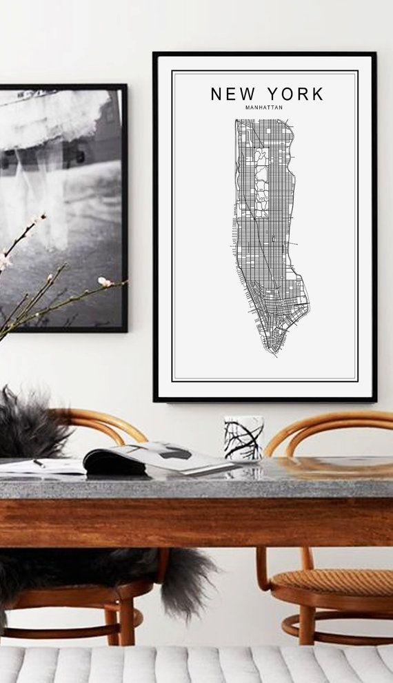 New York Map Print New York City Manhattan Map by AngelinasArtShop