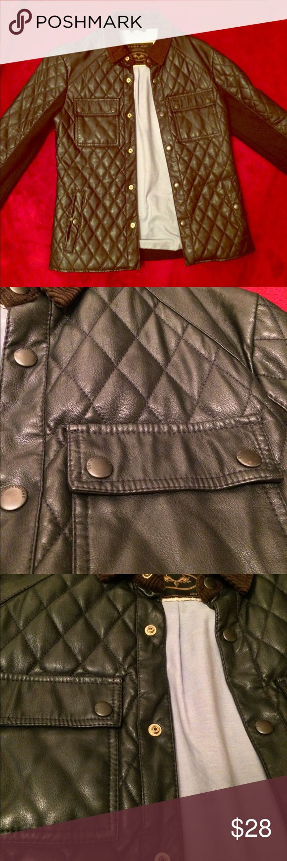 Zara Man Quilted Button Down Jacket in Navy Gold buttons illuminate off this trendy and chic Button Down Jacket from Zara. Amazing fit and great look & style. Zara Jackets & Coats Lightweight & Shirt Jackets
