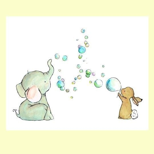 Nursery Art Bubble Party 8x10 Art Print di trafalgarssquare
