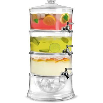 brilliant patio acrylic 3tier beverage dispenser with ice chamber base - Drink Dispensers