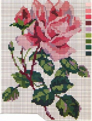 Розы для филейного вязания, орнамента или вышивки, схемы