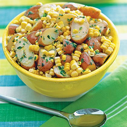 Herb Buttered Potatoes and Corn