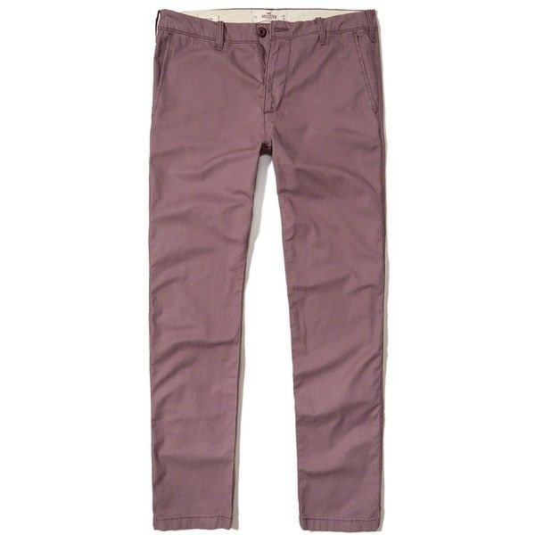 Hollister Skinny Chino Pants ($50) ❤ liked on Polyvore featuring men's fashion, men's clothing, men's pants, men's casual pants, purple, mens skinny fit dress pants, mens skinny pants, mens elastic waistband pants, mens chino pants and mens skinny chino pants