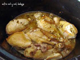 pollo al limón con setas en crockpot