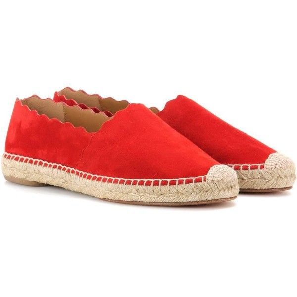 Chloé Lauren Suede Espadrilles ($445) ❤ liked on Polyvore featuring shoes, sandals, chloe espadrilles, suede sandals, chloe sandals, red espadrille shoes and red suede sandals