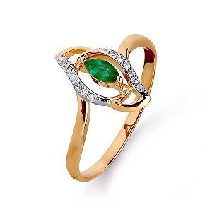 Кольцо из красного золота с белыми бриллиантами и изумрудом