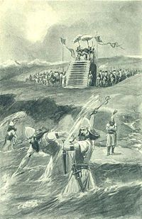 """Xerxes attending the lashing and """"chaining"""" of the Hellespont (Illustration from 1909)"""