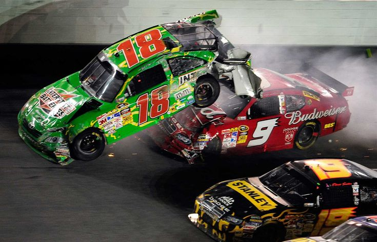 Wildest wrecks at Daytona Wednesday, June 28, 2017 2009: Ouch. Kasey Kahne drills Kyle Busch after the No. 18 got into the wall on the final lap of the summer race. Photo Credit: Photo by Sam Greenwood/Getty Images Photo: 9 / 10