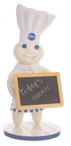 """Pillsbury Doughboy Statue with Chalkboard by Simson.   stands 14"""" tall."""