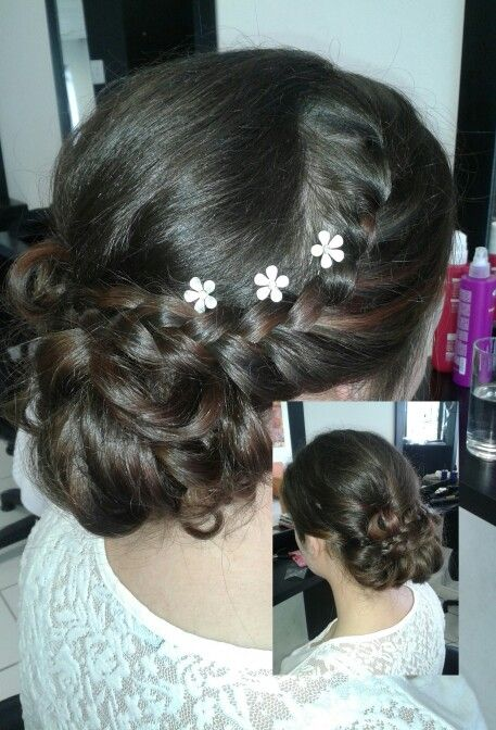 Matric farewell plait upstyle with flowers #duethairdesign