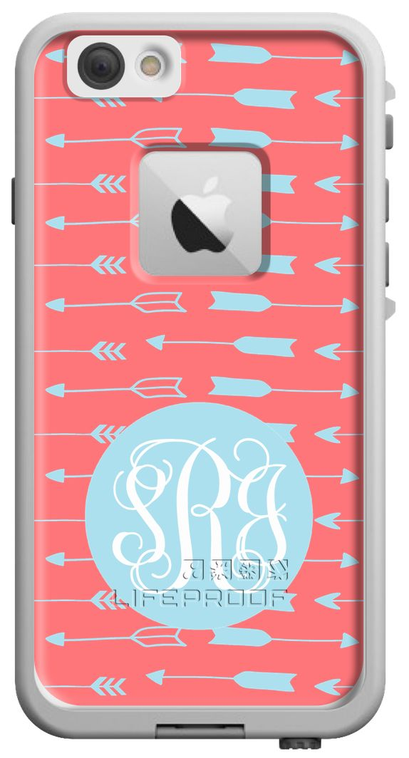Arrows design in Coral + Sky Blue with Script Monogram for iPhone 6. LifeProof cases are the BEST waterproof + protective case & you can customize your own at Boutiqueme.com