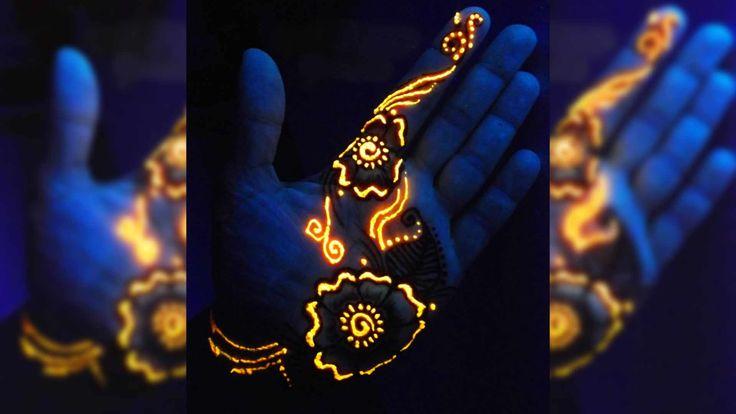 Glow in the Dark Henna | Wer für ein Gesichtstattoo zu schüchtern ist, kann vielleicht Glow in the Dark Henna probieren. Leuchtet grell unter Schwarzlicht und schimmert im Dunkeln.