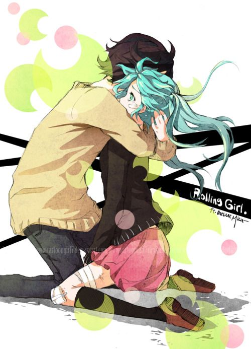 """(Source:myrollingstar)  Once more, once more. """"I'll also roll today,"""" That girl says, that girl says, Playing her words with a smile.  """"Are you better now? It's okay now. Let's go, you must be tired, right?"""" I'm gonna stop my breathing, now. ~Rolling Girl by Hatsune Miku   ★ I've been working on this the past two days. It started out as a sketch like usual, but then I wanted to try cell shading on Photoshop so in the end it turned into a full picture. The process was long..."""