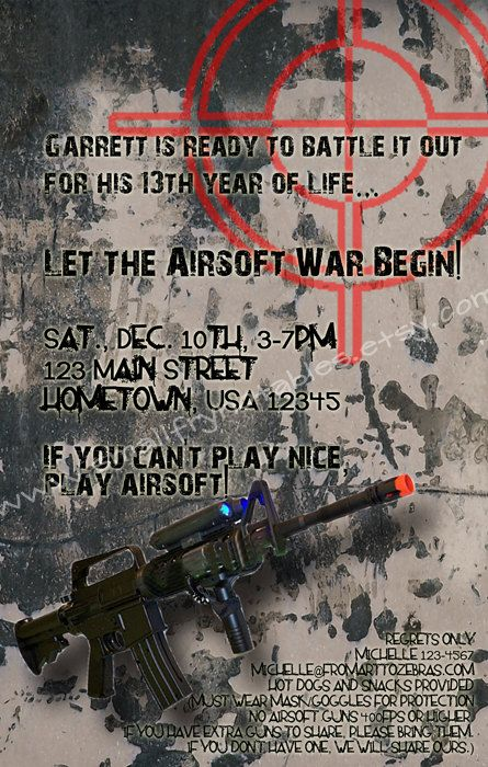 Airsoft Battle Party Custom Printable Invitation by ...