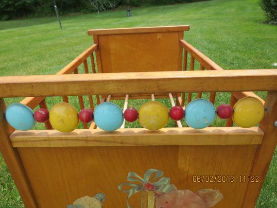 Vintage 1950 S Wooden Baby Doll Crib With Original Decals