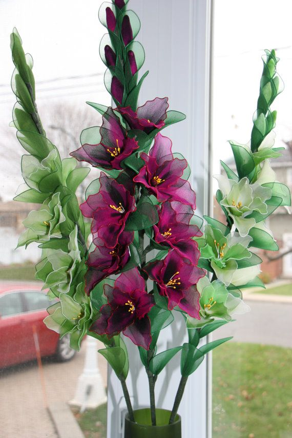 Nylon Flower Green and Fushia gladiolus by TheCallendersFlowers, $40.00