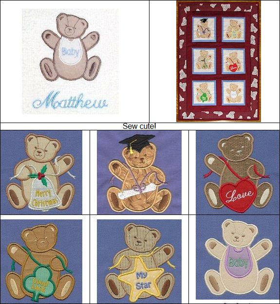 """""""Applique Teddies"""" +FREE Sample! These #MachineApplique Teddies are perfect for special occasions. Announce a birth, celebrate a graduation, or commemorate a special holiday! Christmas and St. Patrick's Day themed bears are also included!"""