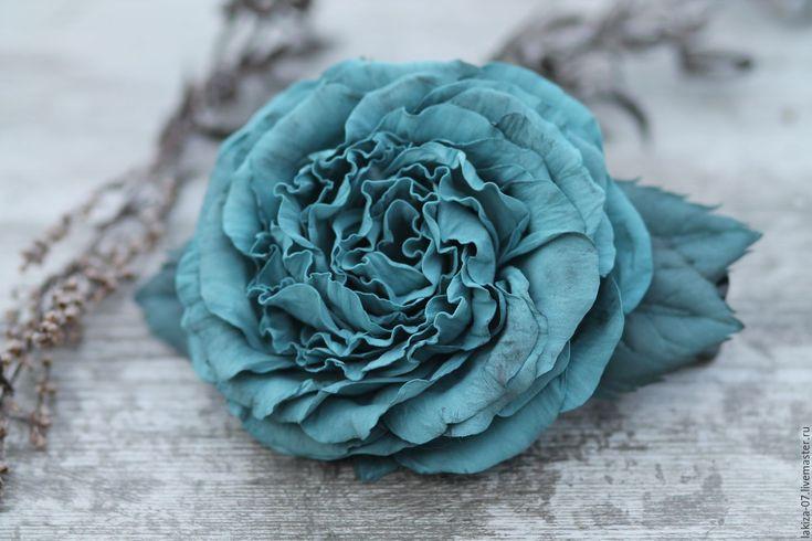 Купить Зажим Роза из фоамирана ручной работы - бирюзовый, заколка для волос, заколка с цветами