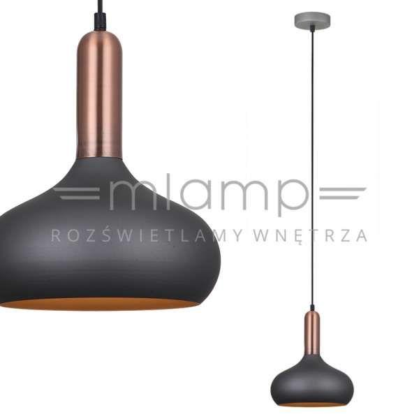 Industrialna LAMPA wisząca QUESMO MDM-3029/1 GR+RC Italux metalowa OPRAWA zwis loft miedź szary