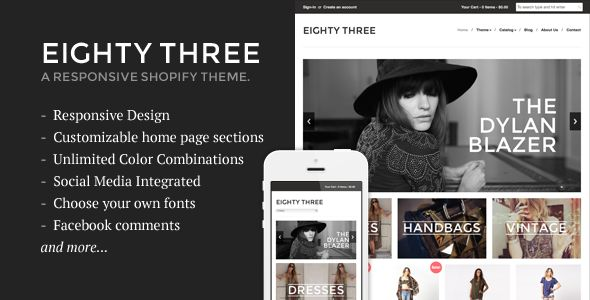 Eighty Three - Responsive Shopify Theme Template - Shopify eCommerce - Download Here : http://themeforest.net/item/eighty-three-responsive-shopify-theme/5391630?ref=yinkira