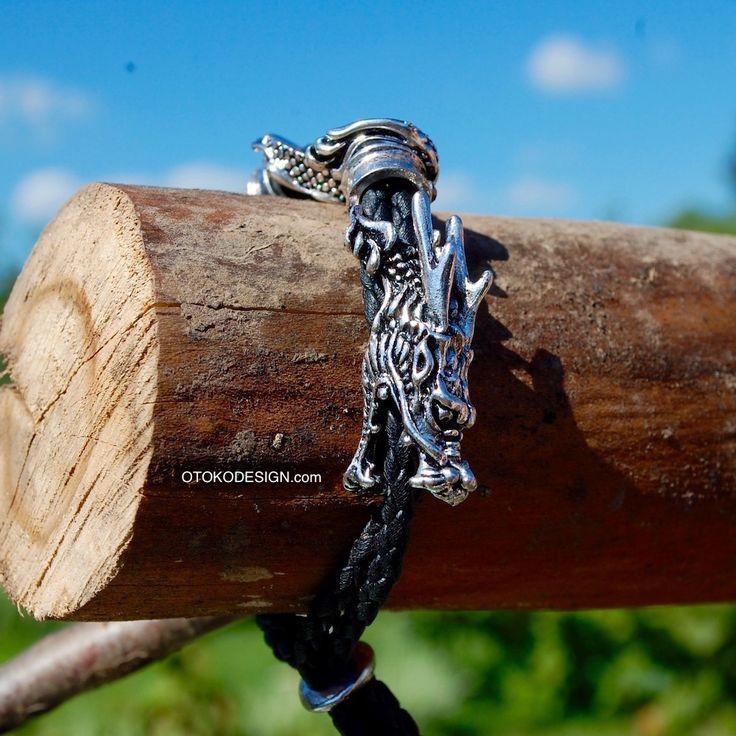 Купить Мужской браслет из натуральной кожи - Дракон в интернет магазине бижутерии, аксессуаров и мужской одежды OTOKODESIGN