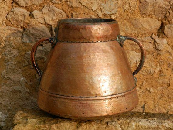 cobre antiguo francs enorme de rara jarra jarra pieza de museo decoracin de castillo hecho de mano francs cobre pan olla de antiguo