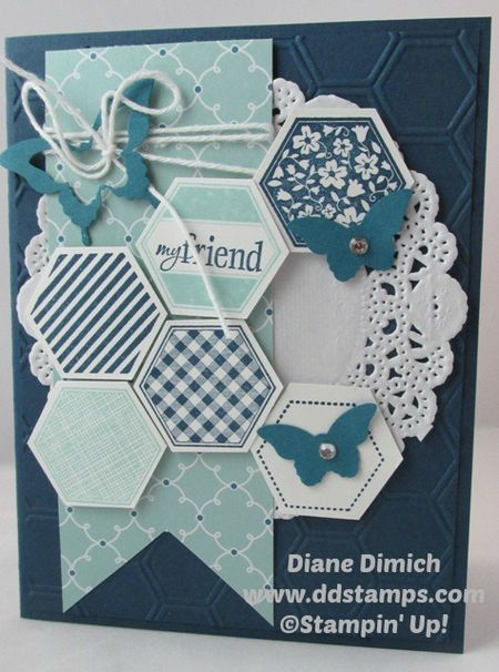 Stampin' Up! Six Sided Sampler and lots of texture~ Midnight Muse, Island Indigo, and Pool Party!