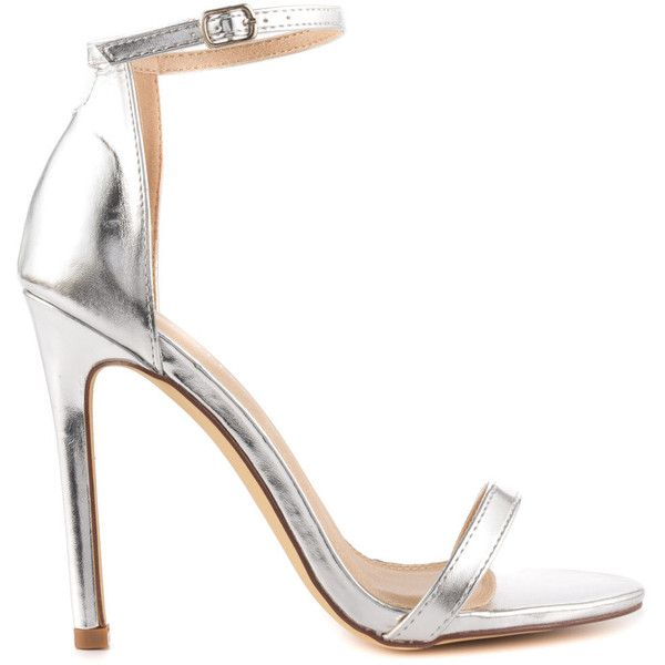 Liliana Women's Elegance - Silver (175 BRL) via Polyvore featuring shoes, silver, liliana shoes, high heeled footwear, strappy stilettos, strap shoes e silver strappy shoes