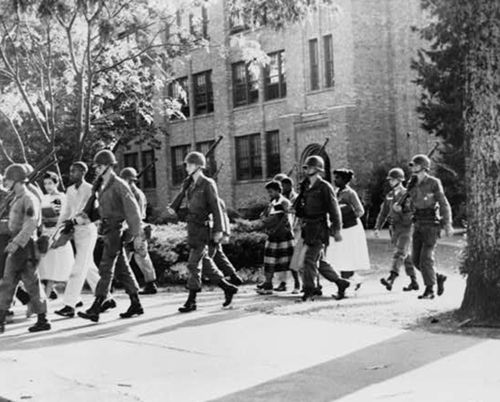 """Tuesday, Sept 4: """"Little Rock Nine"""" Denied Entrance to School On this day in 1957, the """"Little Rock Nine,"""" a group of African American high school students, unsuccessfully attempted to pass through angry crowds to integrate Central High School in Arkansas. Governor Orval Faubus had called out the National Guard to prevent them from entering the school."""