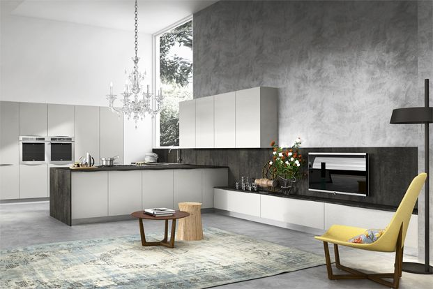 Kitchen:Modern Minimalist Kitchen Room Grey Sink Vase Luxurious White Pendant Lamp Cabinet Countertop Wood Table Yellow Chair Ceiling Partition Floor Carpet Appliances Cooking  Modern Minimalist Kitchen Room Designs with Unusual Choices