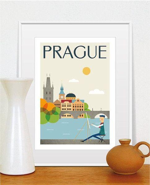 Prag,+Stadt+Poster,+Retro+Plakat,+Größe+A4+von+Tom's+Design+auf+DaWanda.com